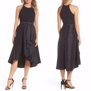 ELIZA J Asymmetrical BLACK Tea Length TAFFETA Gown